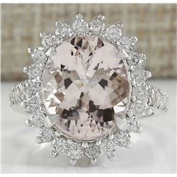 7.34 CTW Natural Morganite And Diamond Ring In 14K White Gold