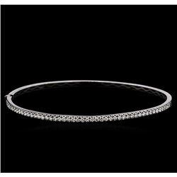 0.95 ctw Diamond Bangle Bracelet - 14KT White Gold