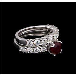 14KT White Gold 1.62 ctw Ruby and Diamond Wedding Set