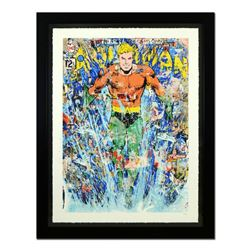 """Mr. Brainwash, """"Aquaman"""" Framed Limited Edition Silk Screen. Hand Signed and Numbered PP 3/5; Letter"""