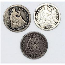 1847, 1853 ARROWS &1857 HALF DIMES
