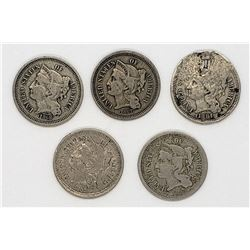 5-THREE CENT NICKELS 1865, 1866,