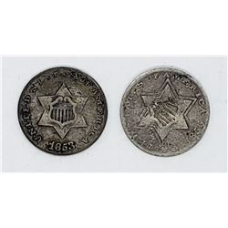 2-THREE CENT SILVERS 1853 & 1856