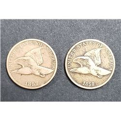 1857 & 1858 FLYING EAGLE CENTS