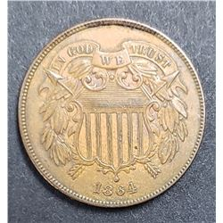 "1864 TWO CENT PIECE ""FULL WE"""