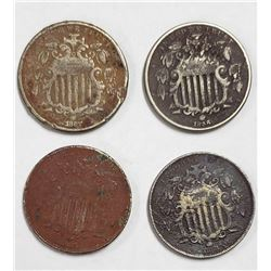 4-SHIELD NICKELS (2) 1867 (2) 1868