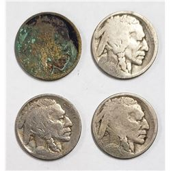 4-BUFFALO NICKELS 1913, 1913-D,1914-D