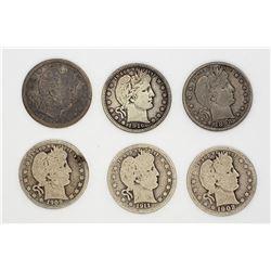 6-BARBER QTRS 1898, 1902, 1908,