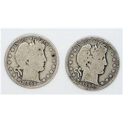 1892 & 1898-S BARBER HALF DOLLARS