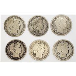 6-BARBER HALF DOLLARS: 1903, 1905-S