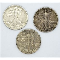 3-WALKING LIBERTY HALF DOLLARS XF+/XF