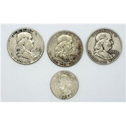 3-FRANKLIN HALF DOLLARS '52, '54-D