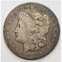 1892-CC MORGAN DOLLAR