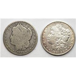 1901-O & 1901-S MORGAN DOLLARS