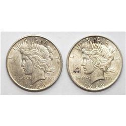 2-1922 PEACE DOLLARS
