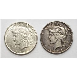 1923-S & 1928-S PEACE DOLLARS