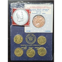 5-BRASS U.S. PRESIDENT COINS SEALED w/BOOKLET