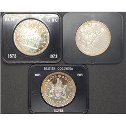 1971, 1972, 1973 CANADA SILVER DOLLARS