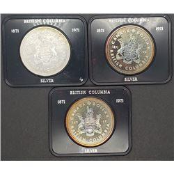 3-1971 CANADA SILVER DOLLARS