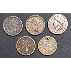 5-LARGE CENTS:  1818, 1846, 1847, 1848, 1853