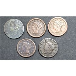 5-LARGE CENTS:  1829, 1833, 1846, 1850, 1851