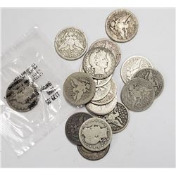 BARBER QUARTERS LOT of 17 COINS