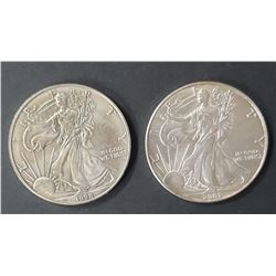 2 - 2001 and 1998 American Silver Eagles 1 oz 999