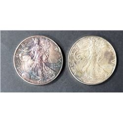 2- 1999 and 2002 American Silver Eagles 1 oz 999
