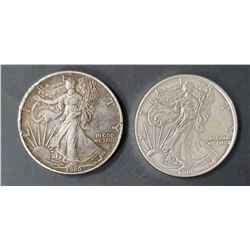 2 - 1990 and 2006 American Silver Eagles 1 oz 999