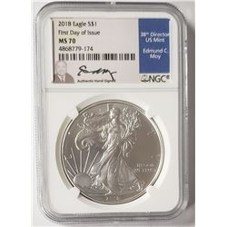 2018 AMERICAN SILVER EAGLE NGC MS70