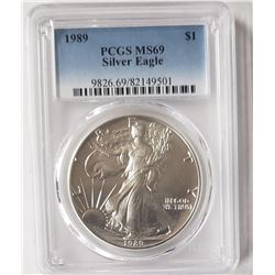 1989 AMERIACN SILVER EAGLE PCGS MS69