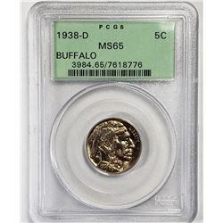 1938-D 5C Buffalo Nickel PCGS MS65