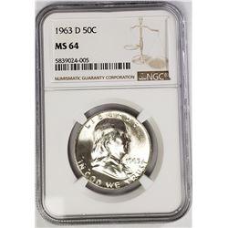 1963-D Franklin Half Dollar 50C NGC MS64