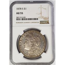1878-S Morgan Silver Dollar $1 NGC AU55