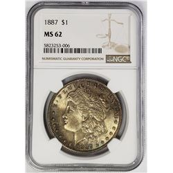 1887-P Morgan Silver Dollar $1 NGC MS62