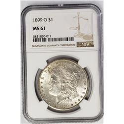 1899-O Morgan Silver Dollar $1 NGC MS61