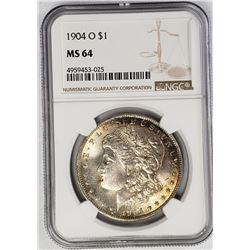 1904-O Morgan Silver Dollar $ NGC MS 64 Nicely Ton