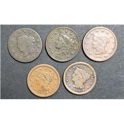 5-LARGE CENTS:  1822, 1836, 1840, 1846, 1853
