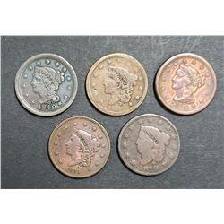 5-LARGE CENTS:  1818, 1835, 1838, 1849, 1850