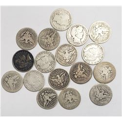 BARBER QUARTERS LOT of 17 COINS