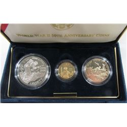 1993 WORLD WAR II (3 COIN SET) w/$5 GOLD PROOF