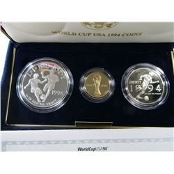 1994 WORLD CUP 3 COIN SET w/$5 GOLD PROOF