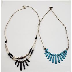 2-SILVER BEADED NECKLACES WITH TURQOISE AND