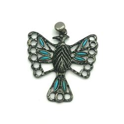NAVAJO BIRD PENDANT PIN POINT TURQUOISE STONES