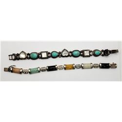 2-VITNAGE PANEL BRACELETS WITH TURQUOISE,