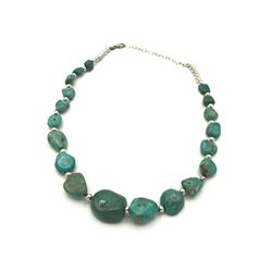 .925 BEADED/ TURQUOISE STONE NECKLACE