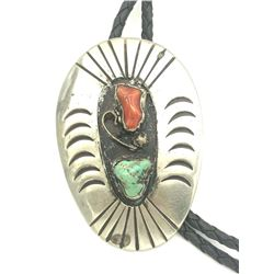 BOLO W CORAL & TURQUOISE STONE .925