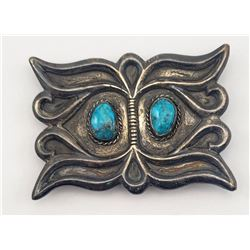 "NAVAJO STERLING BELT BUCKLE MARKED ""RT"""