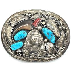 M. THOMAS JR FAUX BEAR CLAW BELT BUCKLE TURQUOISE