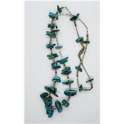 TURQUOISE STONED NECKLACE W SHELLS PULKA LIKE